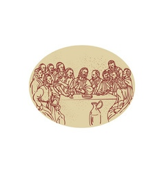 Last Supper Jesus Apostles Drawing vector image vector image