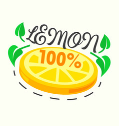 Lemon poster with citrus fruit slice and green vector