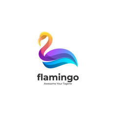 Logo flamingo pose gradient colorful vector