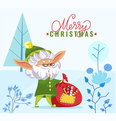 merry christmas greeting elf with sack in forest vector image