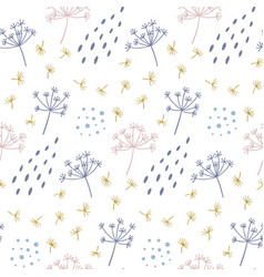 Modern seamless floral pattern with abstract dots vector