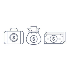 money suitcase and pouch line icon vector image