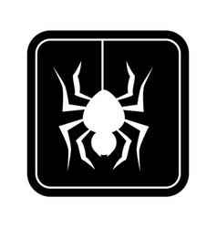 monochrome square silhouette with spider vector image