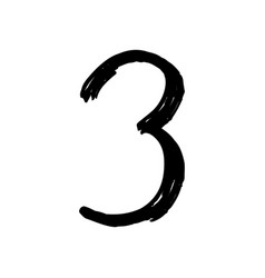 number 3 painted by brush vector image vector image