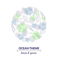 ocean theme banner template undersea world with vector image