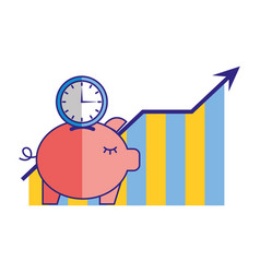 piggy bank clock time statistics chart vector image