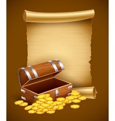 Pirate treasures in trunk and vector image