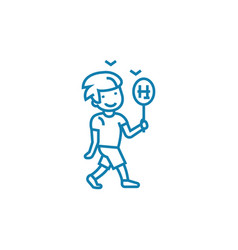 playing badminton linear icon concept playing vector image