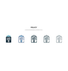 Policy icon in different style two colored and vector