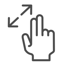 Resize gesture line icon zoom in vector