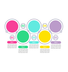 round flowchart infographic template with vector image