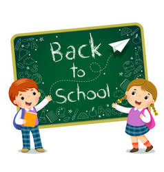 school kids with the blackboard vector image