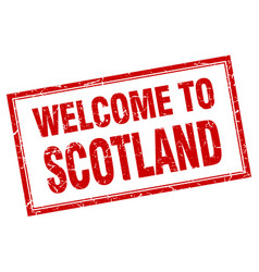 Scotland red square grunge welcome isolated stamp vector