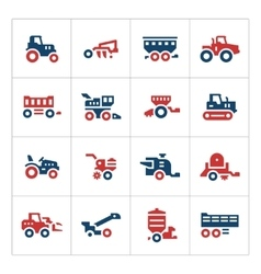 Set color icons agricultural machinery vector