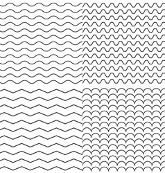 Set of Four Zigzag and Wave Simple Seamless vector image