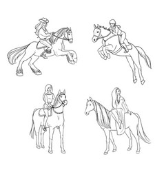 Set of woman riding a horse in various poses vector