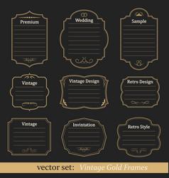 Set vintage gold frames vector