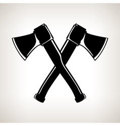 Silhouette of Two Crossed Axes vector image