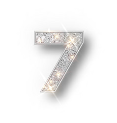 silver glitter alphabet numbers 7 with shadow vector image