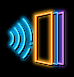sound heading for door neon glow icon vector image