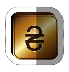 Sticker golden square with currency symbol of vector