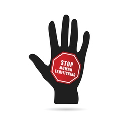 Stop humain trafficking icon with hand vector
