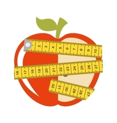 Tape measure apple healthy vector