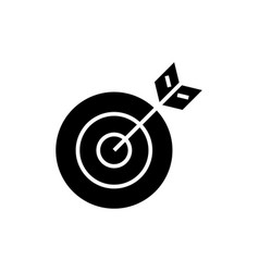 target arrow icon black sign vector image