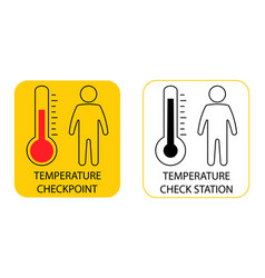 Temperature scanning sign check human body vector