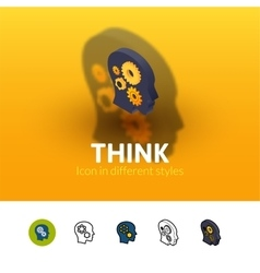 Think icon in different style vector