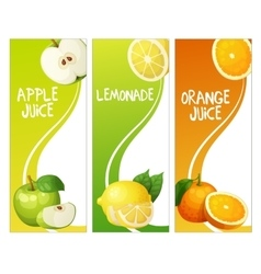 Three vertical banners with apple leon and orange vector
