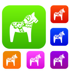 toy horse set collection vector image