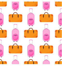 Travel baggage seamless pattern with flat colorful vector