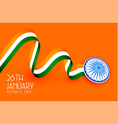 Tricolor indian flag design for republic day vector