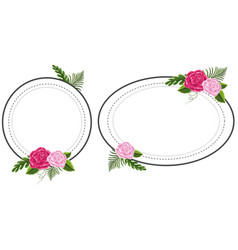 two flower frames with pink roses vector image
