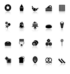 Variety bakery icons with reflect on white vector