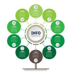 Vertical green timeline infographics tree vector