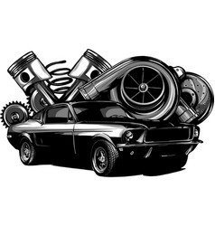 Vintage car components collection witn automobile vector