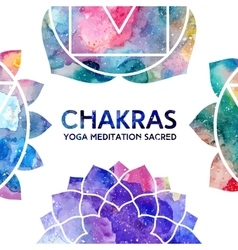 Watercolor chakras frame vector
