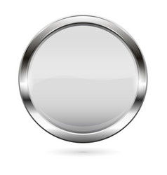 White glass button 3d shiny round icon vector