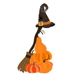 witch costume broom with hat vector image