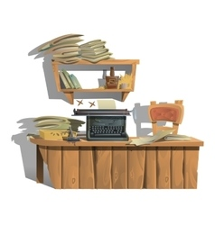 Workplace of writer with typewriter and books vector image