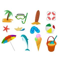 beach holidays icon set vector image