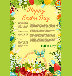 easter day egg hunt poster template design vector image vector image