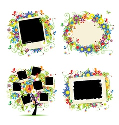 floral photo frame vector image vector image