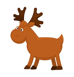 funny little moose with big branchy horns and vector image