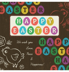 Greetings card for Easter Day with colored eggs vector image vector image