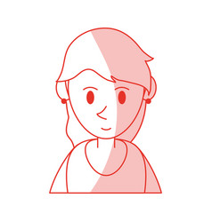 red shading silhouette cartoon half body woman vector image