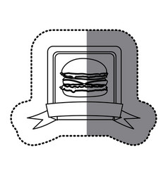 white emblem hamburger fast food icon vector image vector image