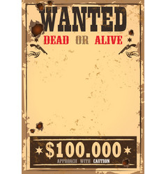 Wild west bounty or wanted paper vector